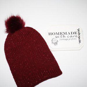 Oversize slouchy Beanie knit maroon Glitter Hat nwt